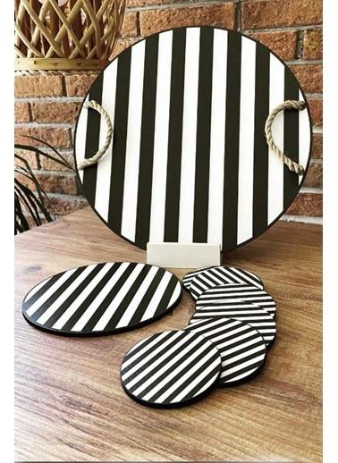Kitchen Love Siyah Beyaz Çizgili Supla Örme Saplı Ahşap TepsiSeti 6'lı Bardak Altlığı Renkli
